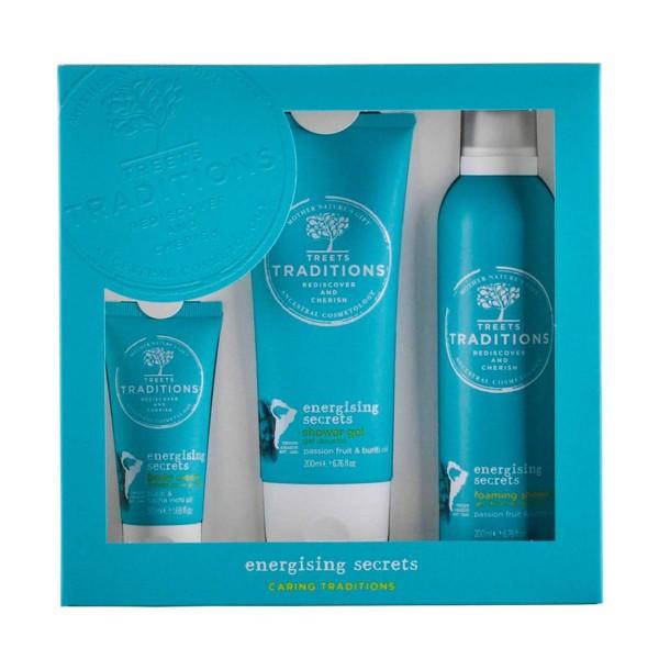 Treets energising secrets gel de baño 200ml + espuma 200ml + crema corporal 50ml
