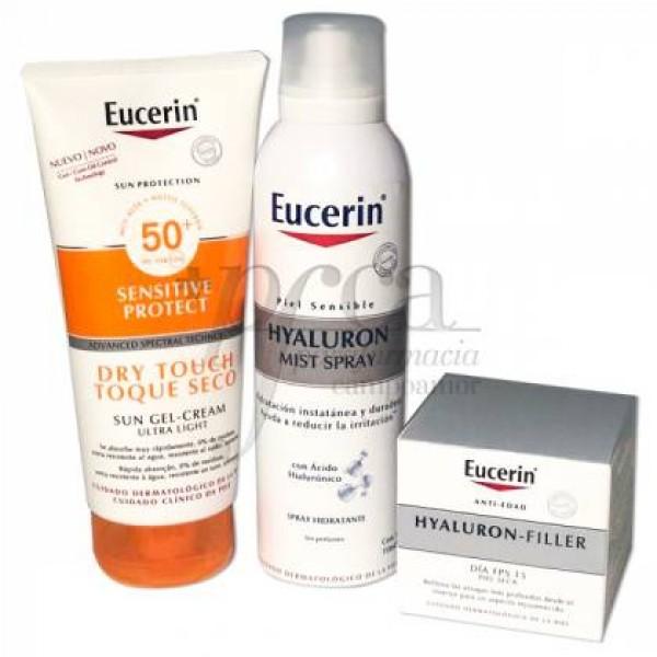 EUCERIN DRY TOUCH SUN GEL CREAM 200ML+ EUCERIN HYALURON CREMA DIA SPF15 PIEL SECA 50ML+ REGALO PROMO