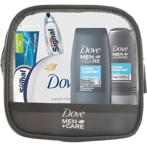 Dove set viaje Men +Care Higiene Corporal  y Bucal 5 piezas + Neceser